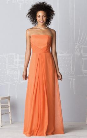 A-line Strapless Floor Length Orange Vintage Bridesmaid Dress Online(BNNAD1075)|KissyDress UK