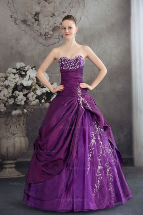 Attractive embroidery ruffle detailed taffeta over organza ball gown dress   | WeddingDressBee