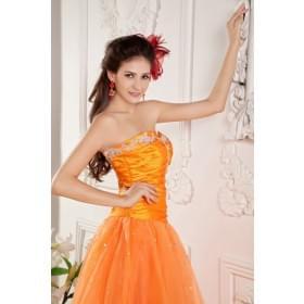 Ball-Kleid Herzausschnitt Orange Organza Bodenlang billig Ballkleider