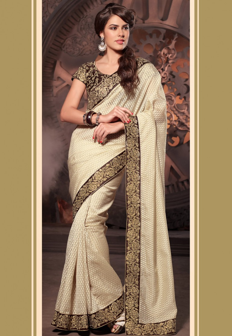 Beige Net Brasso Saree with Blouse Online Shopping