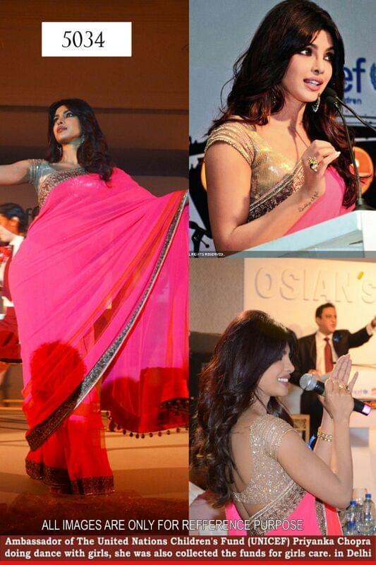Bollywood star throb Priyanka Chopra in a designer pink saree