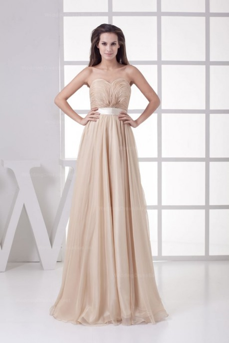 Charming Fully Pleats Top A-Line Floor Length Sheer Chiffon Dress With Belt   | WeddingDressBee
