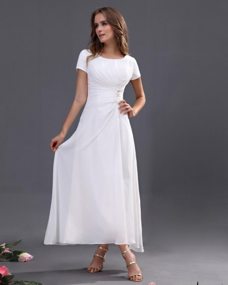 Chiffon Short Sleeve Tea Length Bridesmaid Dress |