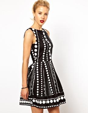 Closet | Closet Fit and Flare Dress in Monochrome Border Print at ASOS