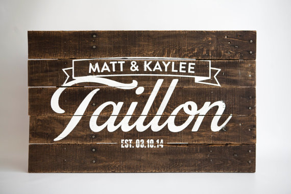 Custom Pallet Art Last Name Sign for Couples or by pixelsandwood