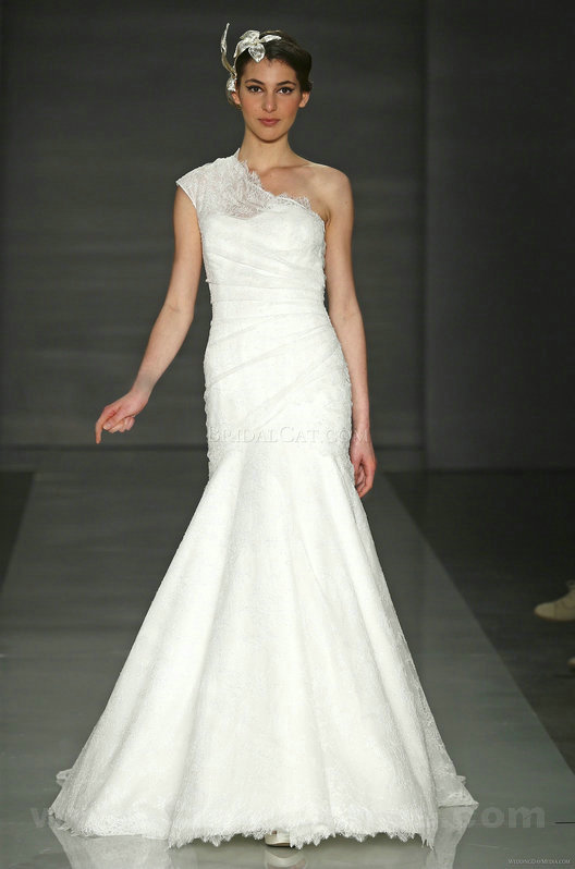 wedding Photo – style 332.00 2014 Asymmetric Mermaid One Shoulder Sleeveless wedding dress ...