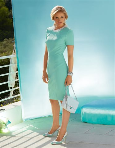 Dress  in the color mint – green, blue – in the MADELEINE online collection