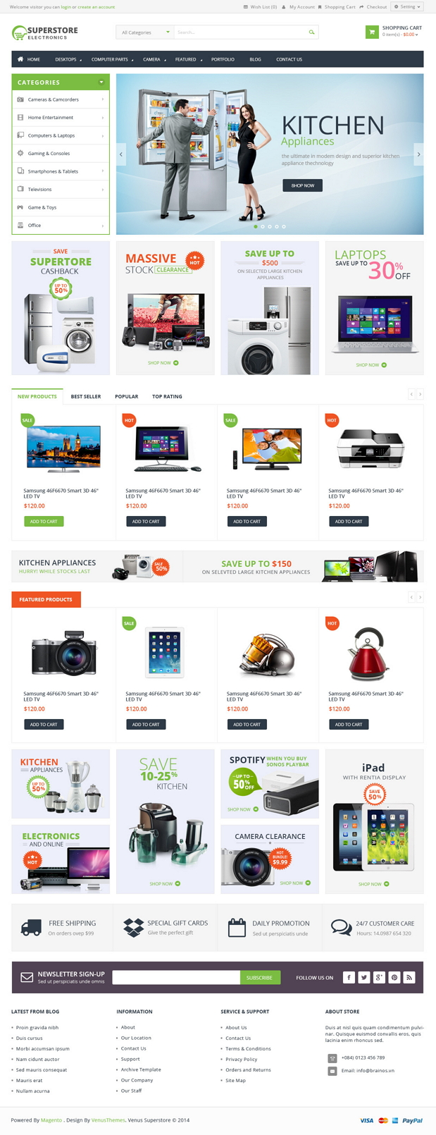 Venus SuperStore is a Responsive Magento Template suitable for any kind of Hightech Store, Gift  ...