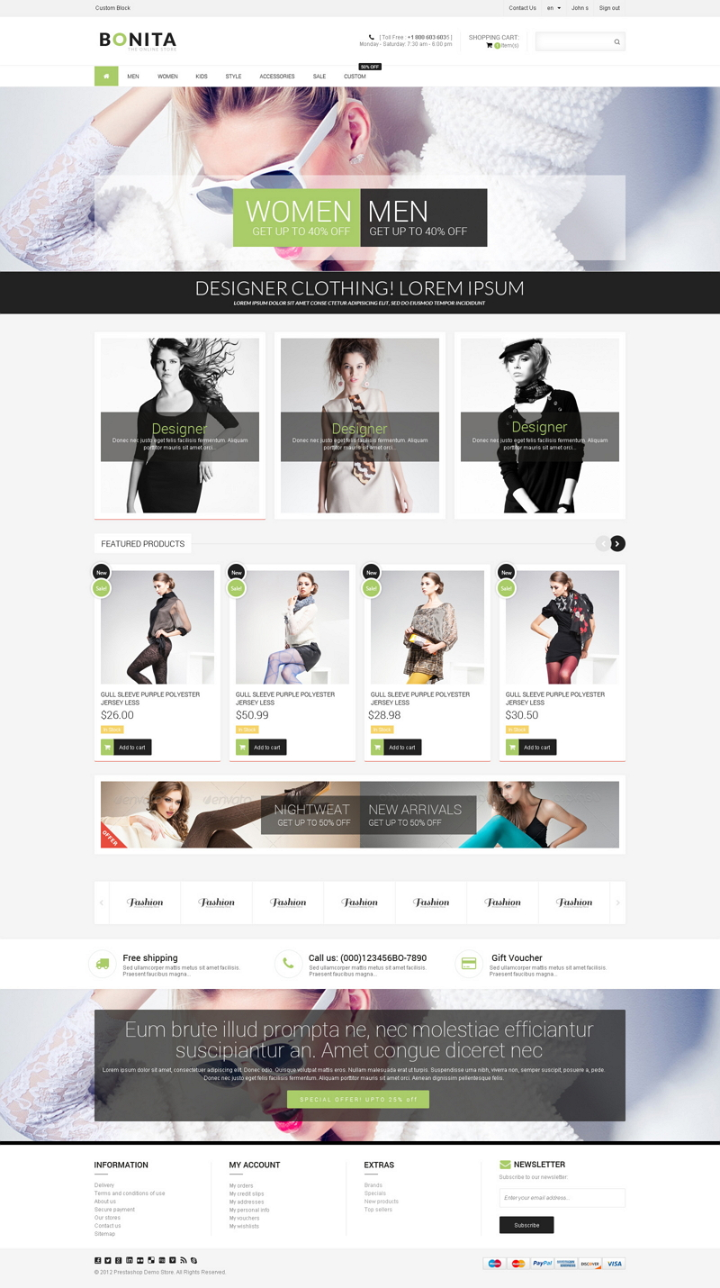 BONITA! is a Premium & Responsive Prestashop Theme can be use for any e-commerce store, Clea ...