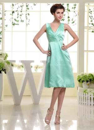 Elegant v neck a line knee length straight cut hemed dress  –   | WeddingDressBee