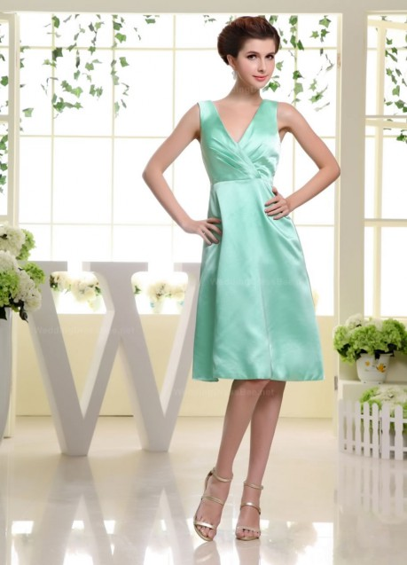 Elegant v neck a line knee length straight cut hemed dress – | WeddingDressBee