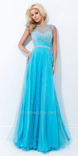 Embellished Portrait Back Princess Prom Dresses by Tony Bowls Le Gala
