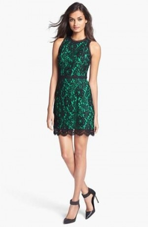 Emerald Green & Black Lace | clothes | Pinterest