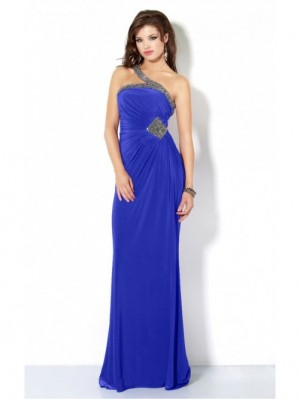 Fancy Royal Blue Sheath Floor-length One Shoulder Dress