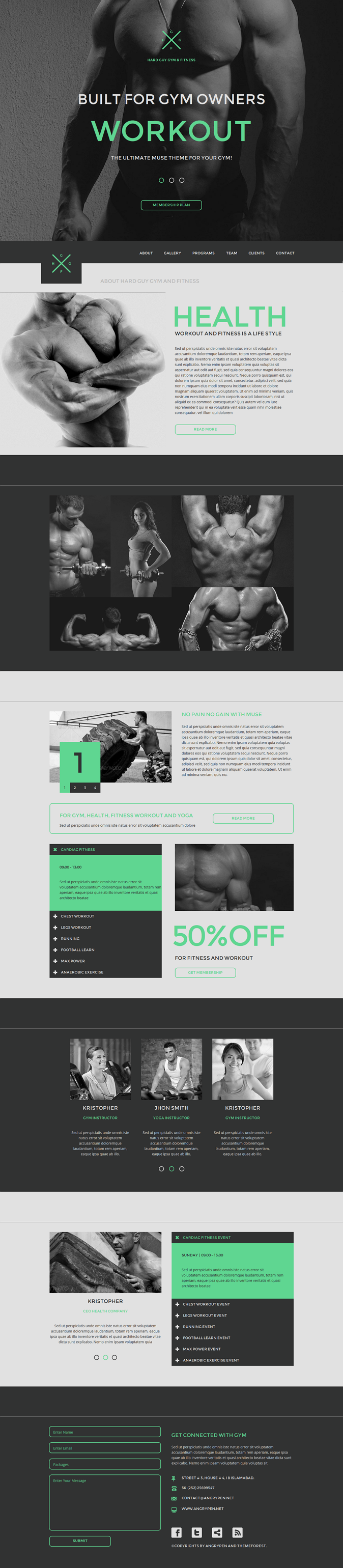 Hard guy Gym one page Adobe Muse template specially designed for gym, yoga and other exercise re ...