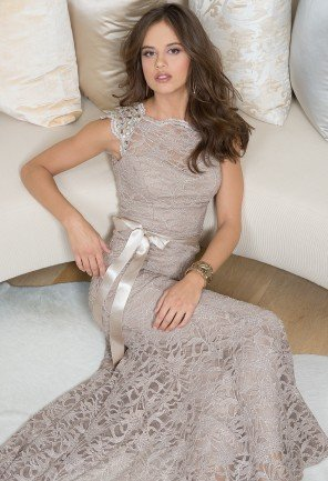 Glitter Lace Dress with Capped Sleeves from Camille La Vie and Group USA