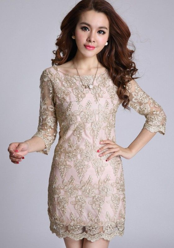 Golden Floral Belt Half Sleeve Wrap Lace Vintage Dress