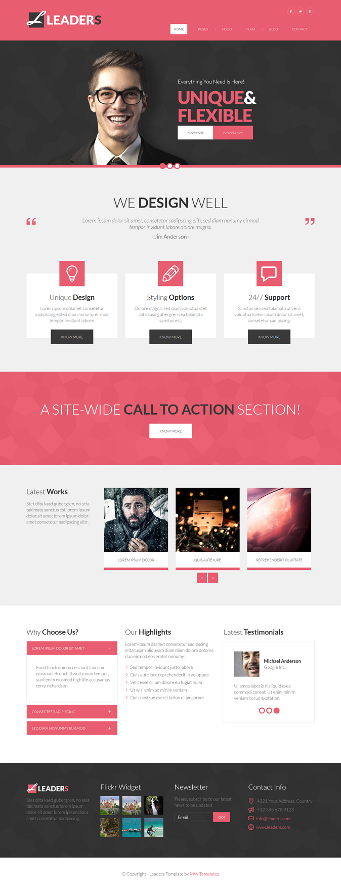 Leaders is multipurpose HTML bootstrap 3.1. template. It suits for any type of business, corpora ...
