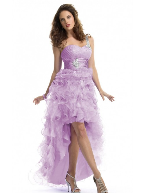 Lilac Princess Asymmetrical One Shoulder Dress