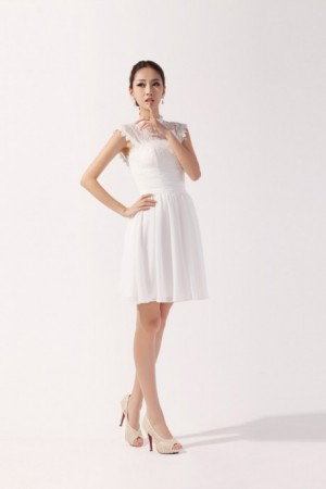 Lovely with lace top chiffon Knee-length dress for girls | wedding-dress-bee.net