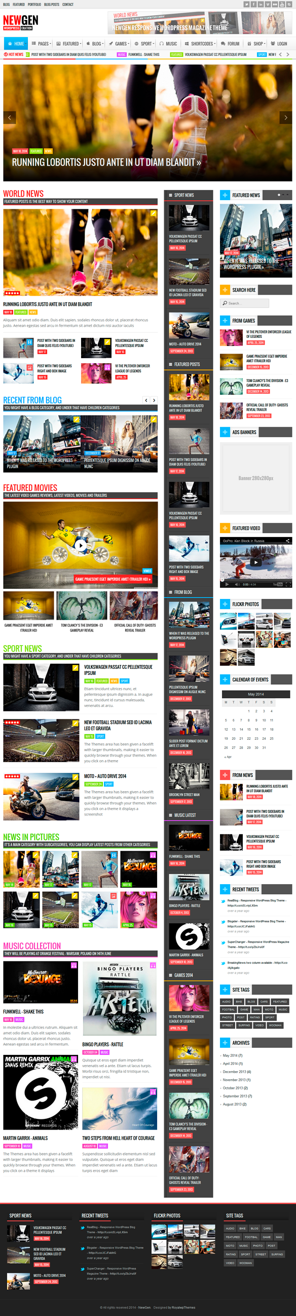 Newgen is a Responsive News Magazine WordPress Theme.