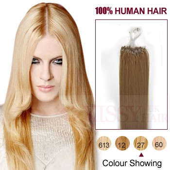 24 Inch Strawberry Blonde(#27) 100S Micro Loop Human Hair Extensions from http://www.kissyhair.c ...