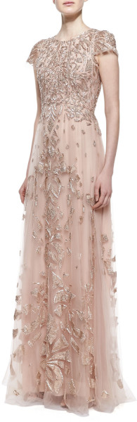 Monique Lhuillier Cap Sleeve Embroidered Tulle Gown Cherry Blossom in Pink (CHERRY BLOSSOM) | Lyst