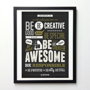 Motivational Typography Poster  Be kind Be greater by NeueGraphic