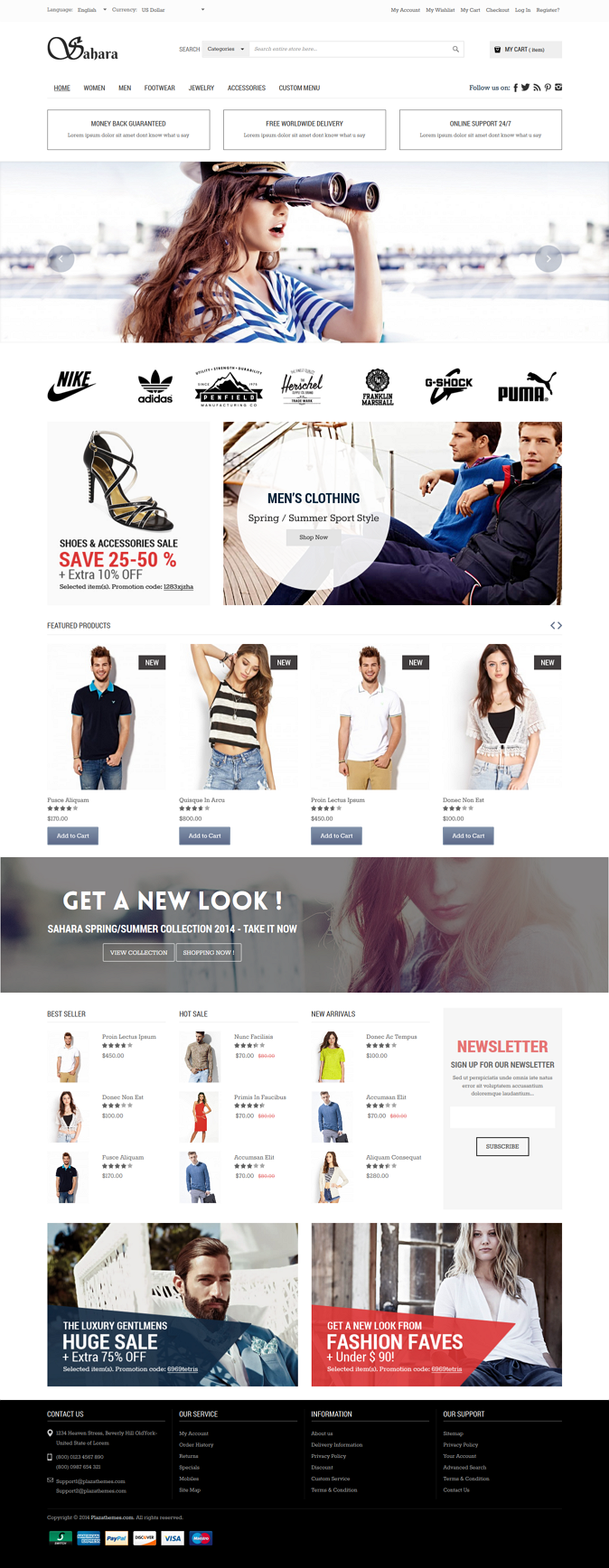 Sahara, the newest design from Plazathemes, has been created as a mega store Magento eCommerce s ...