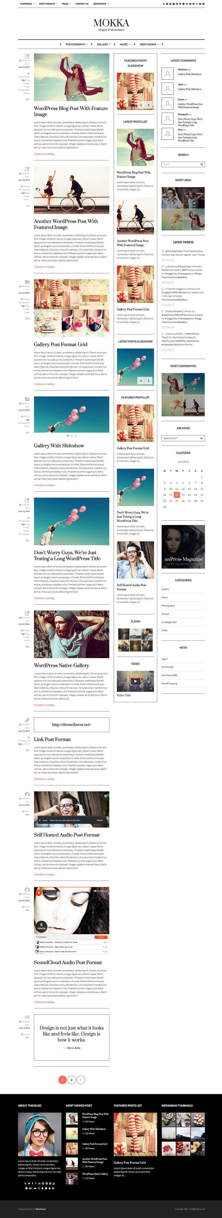Mokka is a responsive, minimalist, flexible and modern WordPress Blog theme.From a clean whit ...