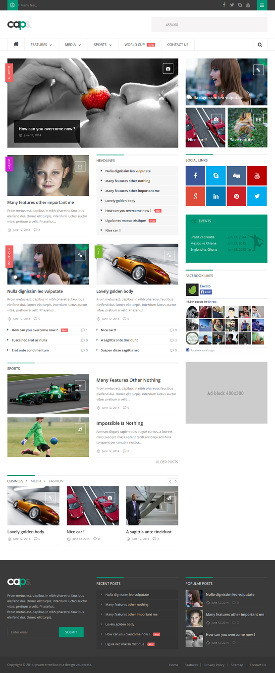 Welcome to Caps Responsive News/ Magazine WordPress Theme. It has advanced theme options; Shortc ...