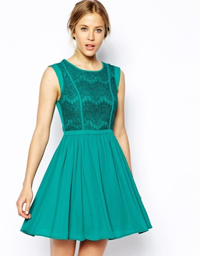 Oasis | Oasis Lace Bodice Skater Dress at ASOS