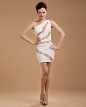 One Shoulder Chiffon Beading Cocktail Dress |
