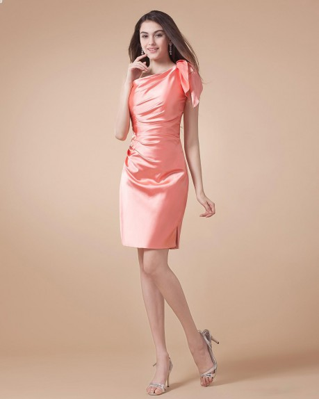 One Shoulder Elastic Satin Bridesmaid Dress |