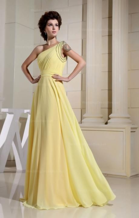 One Shoulder  Floor Length Chiffon One Shoulder  Floor Length  | WeddingDressBee