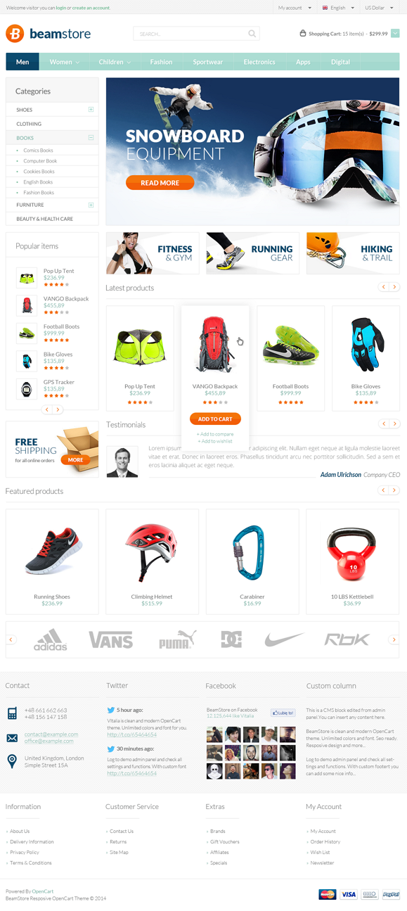 BeamStore is an advanced OpenCart theme fully customizable and suitable for eCommerce websites o ...