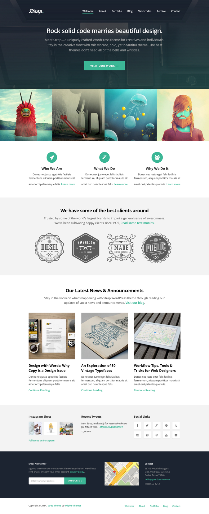 Strap is a creatively fun WordPress theme for businesses, creatives, and agencies. Get noticed w ...