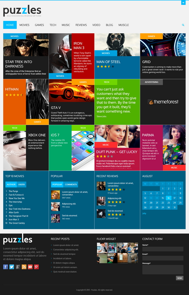Puzzles is an easy and spectacular solution for magazines and review sites for all possible subj ...