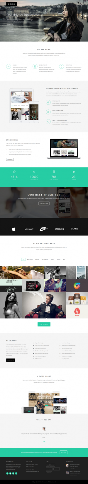 NAMO is a clean and creative WordPress theme that is stylishly multipurpose and super responsive ...