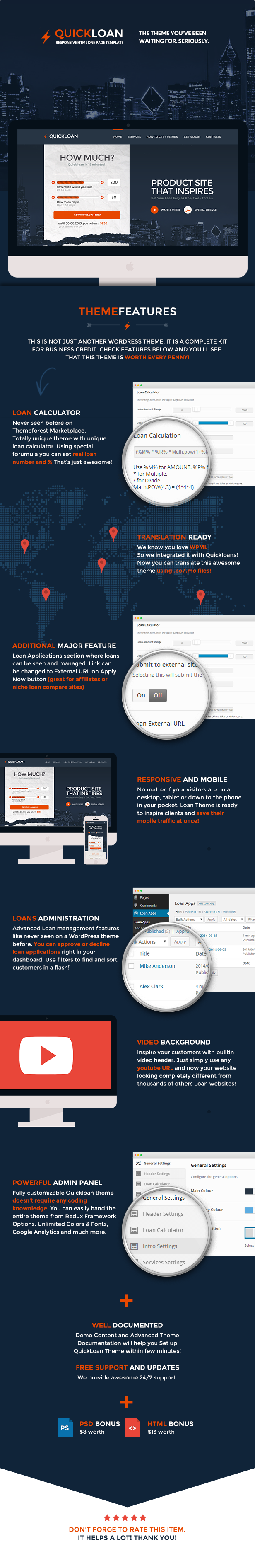 QuickLoan is responsive One Page WordPress Theme. It has unique design with loan form hot calcul ...