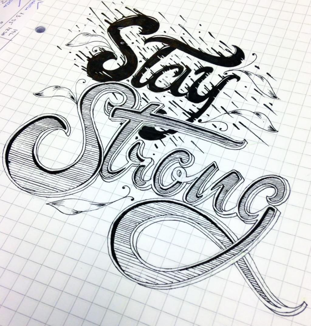 Typographic work 2 – black ink pen