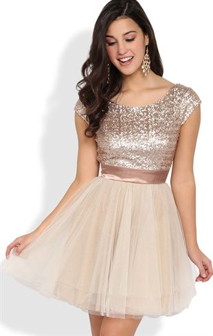 Short Prom Dress with Sequin Cap Sleeve Bodice and Full Tulle Skirt