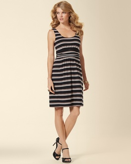Sleeveless Wrapped Short Dress Vista Stripe Black – Soma