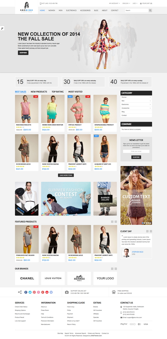 SNS Nino is a Premium Responsive Magento Theme. A super neat design, it has 8 colors style and 2 ...