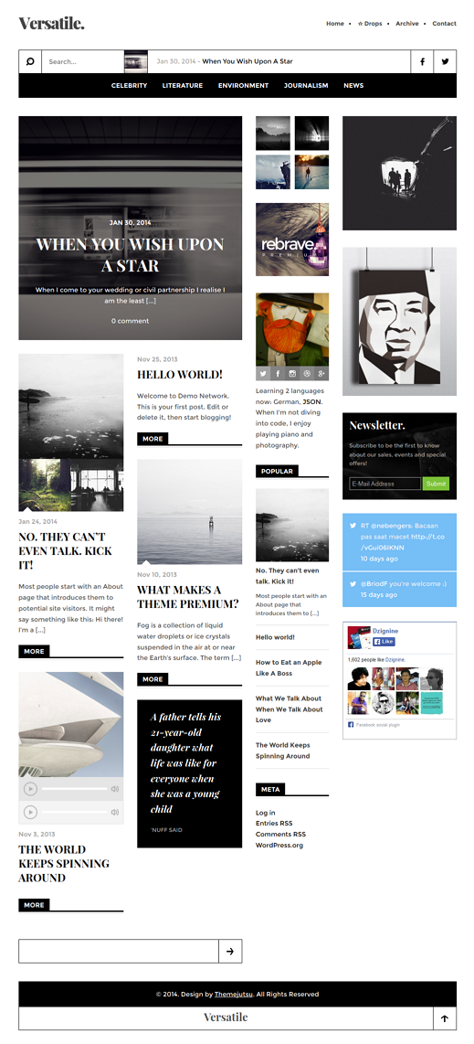 Versatile is a quintessential WordPress theme for a serious, successful online publisher. Select ...