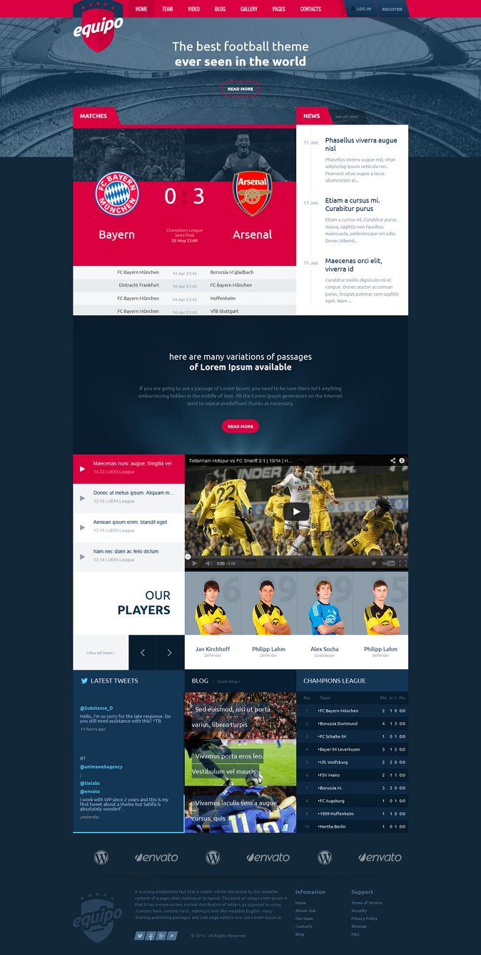 Equipo Responsive WordPress Theme is a sport team and football theme. Equipo is designed for foo ...