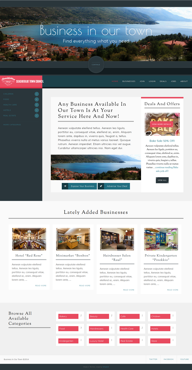 """Business In Our Town"" is a WordPress.org based theme which allows to create a list of businesse ..."