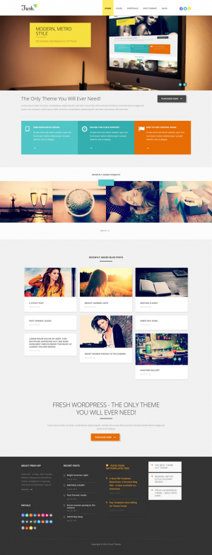 Fresh – Responsive Multi-Purpose WordPress Theme is a Clean, Modern Theme with Metro Layout suit ...