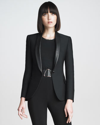Yves Saint Laurent Leather-Collar Blazer