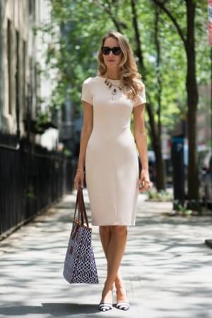 Zara White Short Sleeve Tailored Bodycon Dress